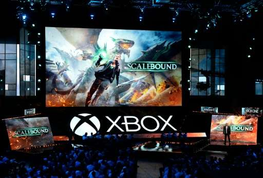 """Hideki Kamiya, Director at Platinum Games, introduces the video game """"Scalebound"""" during Microsoft Corp. Xbox at the G"""