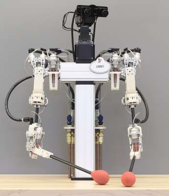 Hybrid hydrostatic transmission enables robots with human-like grace and precision
