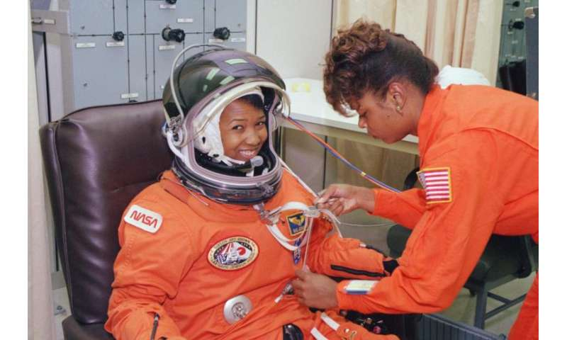 Image: Astronaut Mae Jemison suits up for launch, 1992