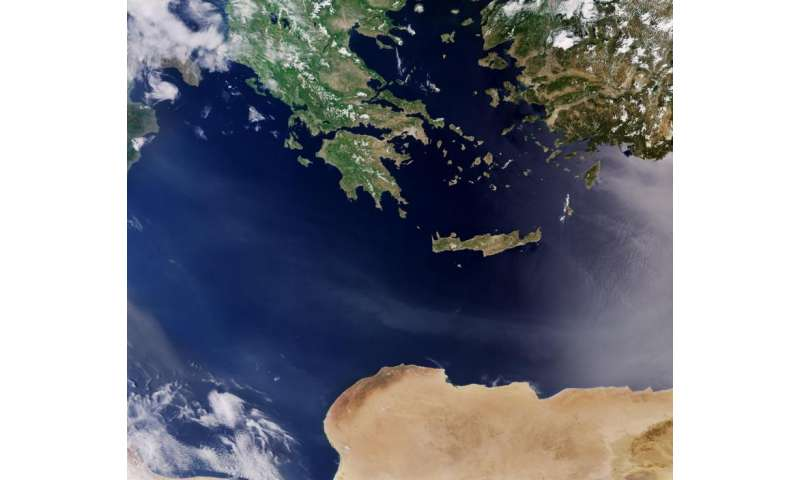 Image: Countries in the Mediterranean Sea captured by the Sentinel-3A satellite