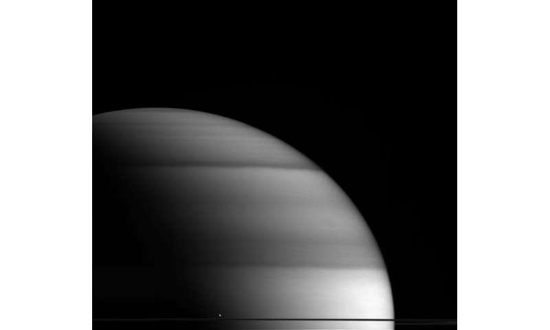 Image: Enceladus and Saturn's rings