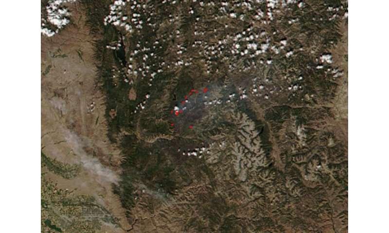 Image: Pioneer Fire in Idaho heading toward Deadwood Reservoir