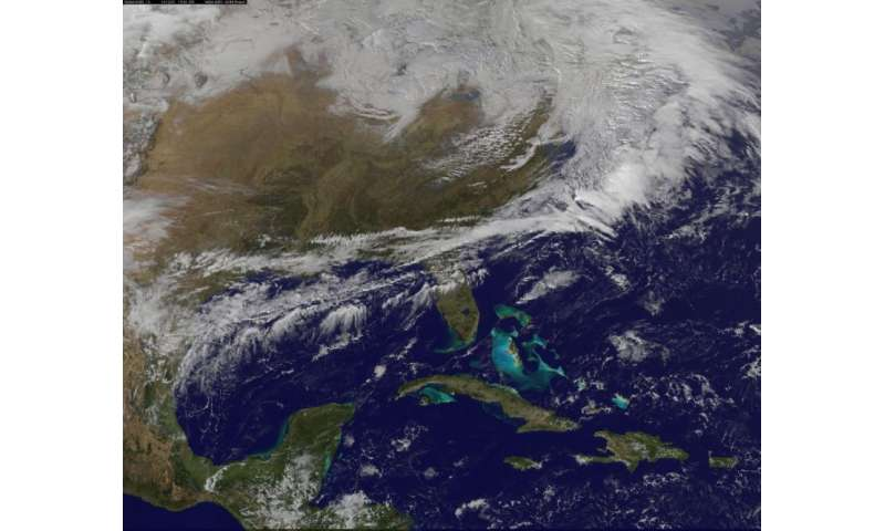 Image: Satellite view of big snowstorm for the Northeastern U.S.
