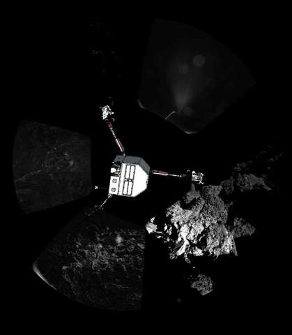 Images from the Rosetta comet probe shows the Philae lander descending to the surface of comet 67P/Churyumov-Gerasimenko in Nove