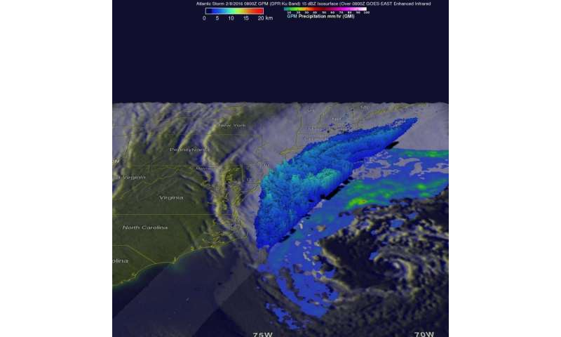 Intensifying Atlantic storm examined by NASA's GPM