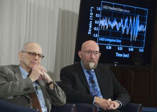 Kip Thorne (R), and Rainer Weiss, the scientists behind the groundbreaking discoveries of gravitational waves and the existence