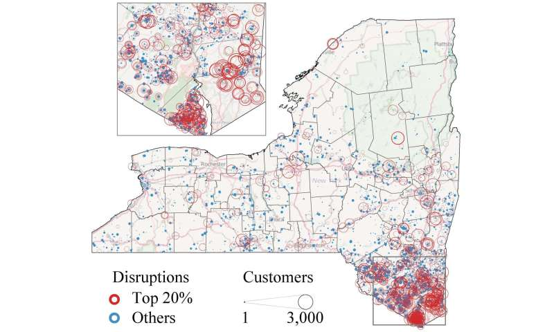 Large-scale study of Super Storm Sandy utility damage shows 'small' failures, big impact