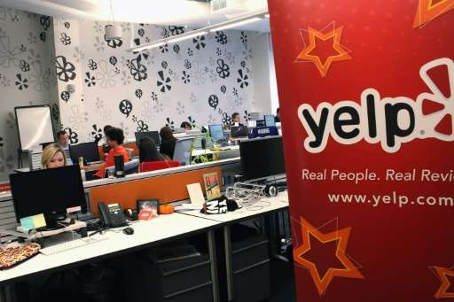 Late day trades on the New York Stock Exchange sent Yelp, their East Coast headquarters seen on October 26, 2011 in New York Cit