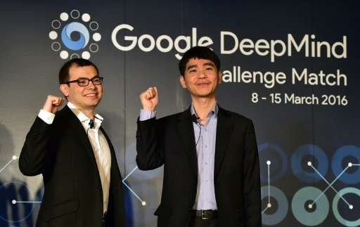 Lee Se-Dol (R), a legendary South Korean player of Go poses with Google Deepmind head Demis Hassabis during a press conference a