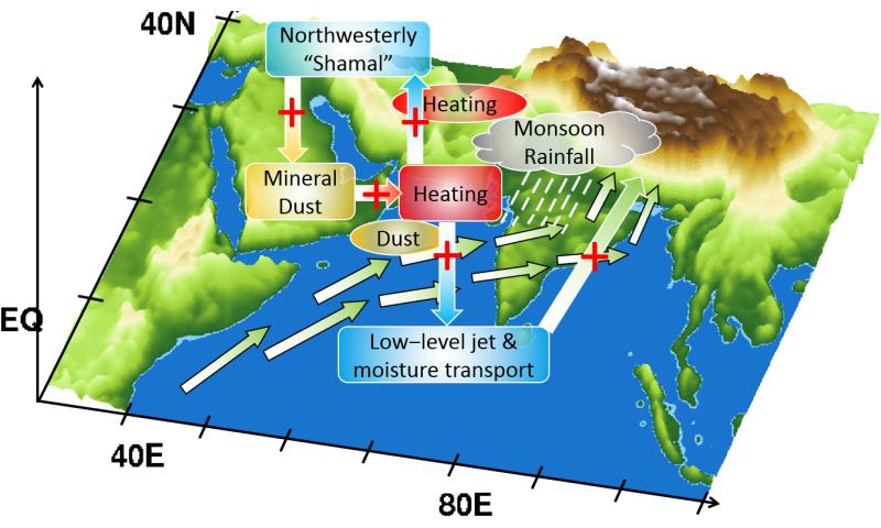 Monsoon intensity enhanced by heat captured by desert dust