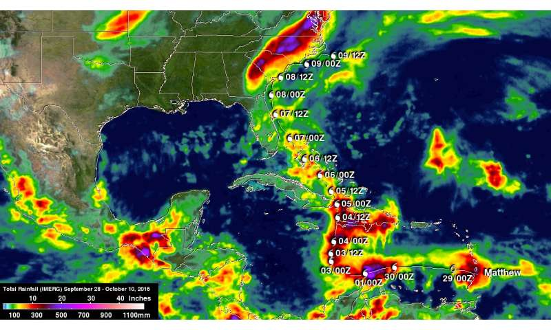 NASA adds up deadly Hurricane Matthew's total rainfall