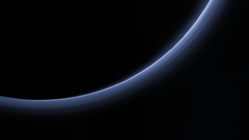 NASA image: Pluto's haze in bands of blue