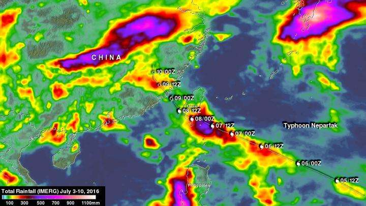 NASA IMERG finds Typhoon Nepartak dropped almost 20 inches of rain