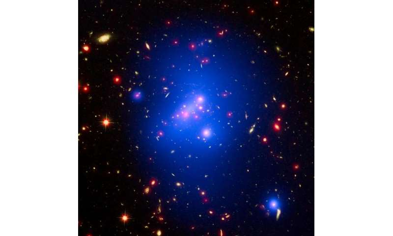 NASA's Great Observatories Weigh Massive Young Galaxy Cluster