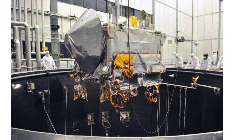 NASA's OSIRIS-REx spacecraft in thermal vacuum testing