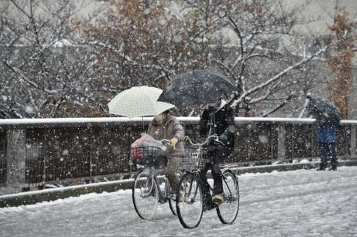 People cycle through a snow shower in Tokyo on November 24, 2016