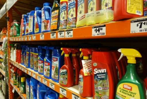 Pesticides are displayed in a store in Miami, Florida on August 9, 2016