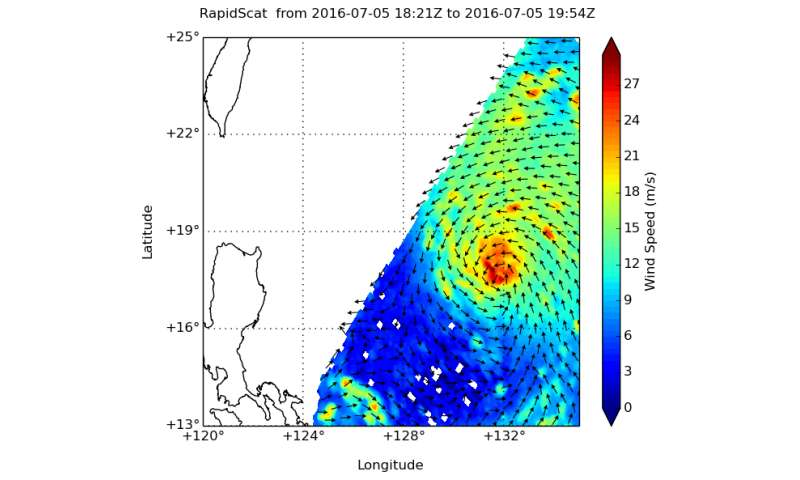 Rapidly intensifying typhoon examined by NASA's GPM, RapidScat