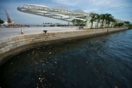 Raw sewage and garbage litter Rio's Guanabara Bay, pictured here near the Museu do Amanha (Museum of Tomorrow) in Rio de Janeiro