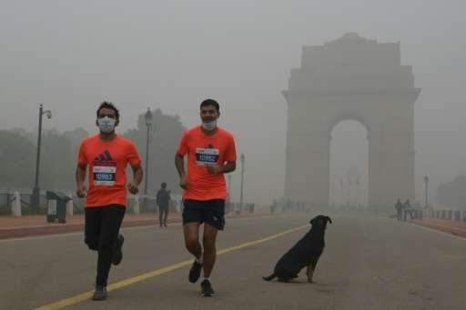 Runners take part in the New Delhi 10K Challenge amid heavy smog on November 6, 2016
