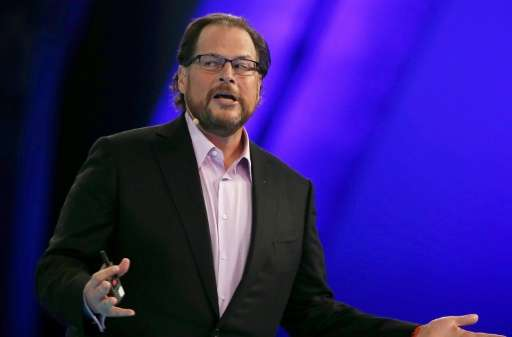 """Salesforce CEO Marc Benioff, pictured on October 14, 2014, said, """"Demandware is an amazing company—the global cloud leader"""