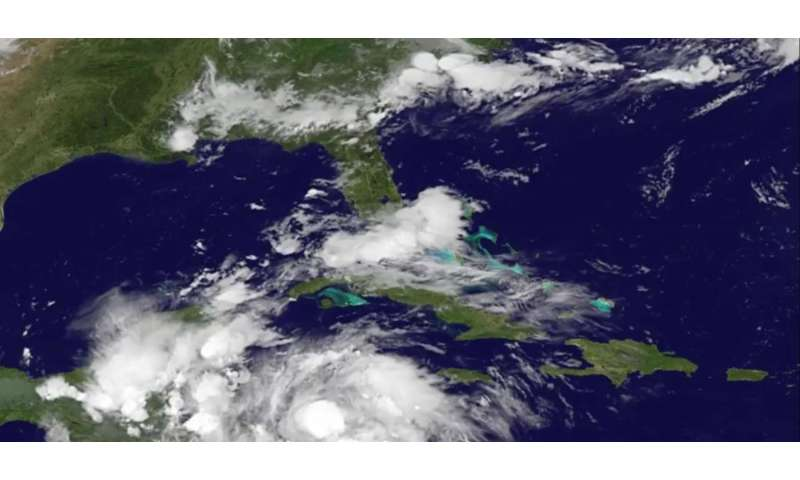 Satellite animation shows landfall of Hurricane Earl in Belize