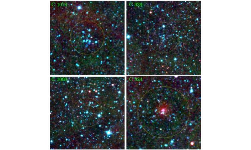 Seven new embedded clusters detected in the Galactic halo