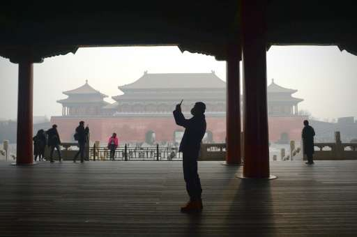 Smog around the Forbidden City in Beijing on December 21, 2016