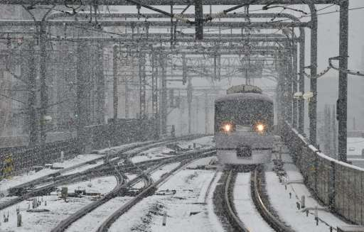 Snow falls over a railway in Tokyo on November 24, 2016