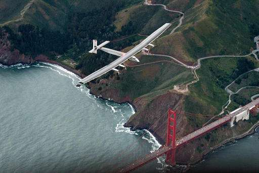 Solar plane on global trip soars from California to Arizona