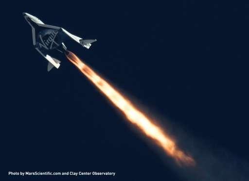 spaceship blasting away from