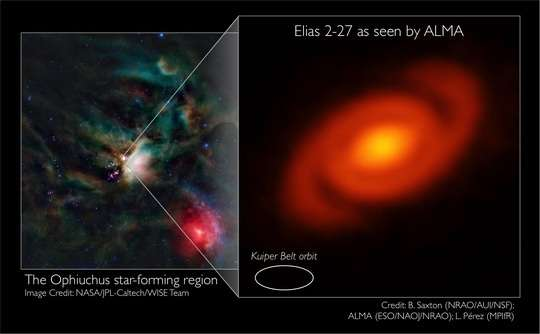 Spiral arms: Protoplanetary disk around a young star exhibits spiral structure