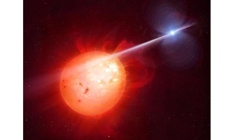 Star's intense radiation beams whip neighboring red dwarf