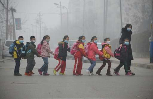 Students wearing face masks to protect them from pollution walk across a street in Jinan, in east China's Shandong province on D