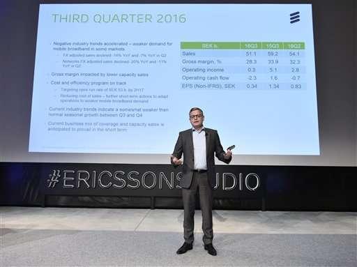 Sweden's Ericsson posts Q3 loss, cites worsening industry