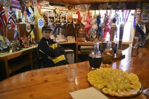 The barman who works at the Vernadsky Research Base, an Ukrainian Antarctic Station at Marina Point on Galindez Island, Antarcti