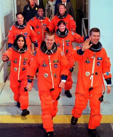 The crew of US space shuttle Columbia (front: L-R) William McCool, Rick Husband, (second row, L-R) Kalpana Chawla, Laurel Clark,