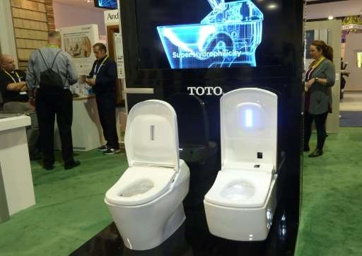 The demo Toto toilet is seen on January 8, 2016 at the Consumer Electronics Show in Las Vegas, Nevada