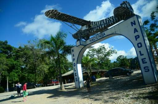 The entrance of the Hacienda Napoles theme park, once the private zoo of drug kingpin Pablo Escobar at his Napoles ranch in Dora