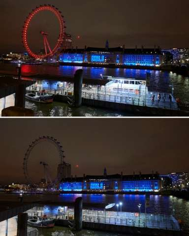 The London Eye before and after the lights were turned off for the Earth Hour campaign on March 19, 2016