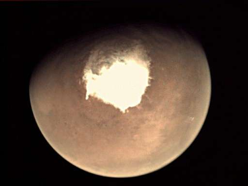 The planet Mars as seen by the webcam on the European Space Agency's (ESA) Mars Express orbiter