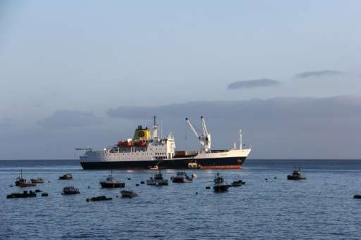 The RMS St Helena anchored in the bay of the South Atlantic island of Saint Helena