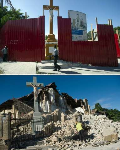 The Sacre Coeur Church in Port-au-Prince, on December 29, 2014 (top) and the church on January 14, 2010, two days after it was d