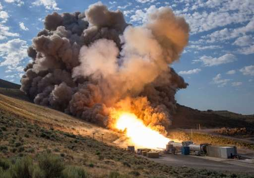 The second and final qualification motor test for the Space Launch System's booster on June 28, 2016, at Orbital ATK Propulsion