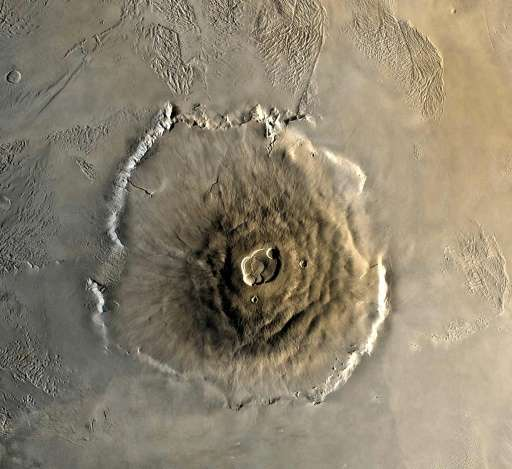 This 1978 NASA image shows a color mosaic of the Olympus Mons volcano on Mars as captured by the Viking 1 Orbiter