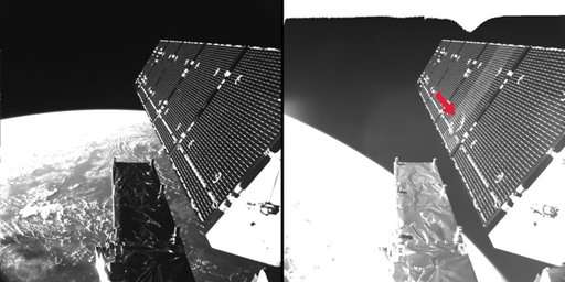 Tiny particle blows hole in European satellite's solar panel