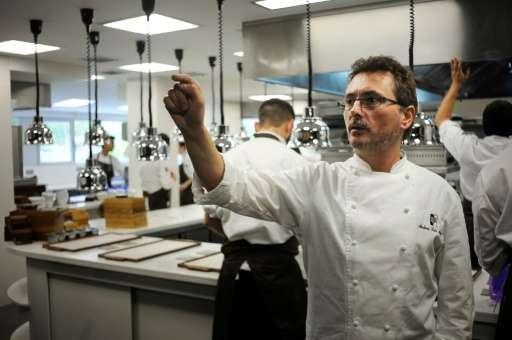 Top Basque chef Andoni Luis Aduriz works in the kitchen at Mugaritz restaurant in the northern Spanish Basque village of Renteri