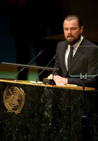US actor Leonardo DiCaprio delivers a speech during the opening session of the 69th United Nations General Assembly on September