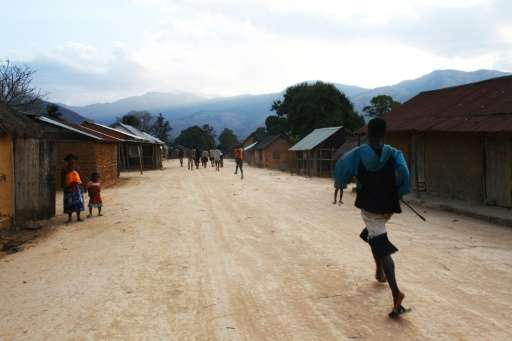 Villagers gather on a street in Fenoevo-Efita, 20 km away from Ranomafana, in southern Madagascar's Anosy Region