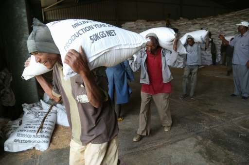 """Workers move emergency food supplies at Ethiopia's largest """"strategic grain reserve"""" depot in Adama, on February 13, 2"""